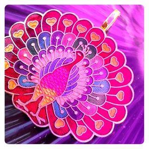 Big Cloisonné Peacock Pendant w/ Heart Feathers